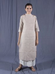 Cotton Ethnic Wear High Collar Golden Checkered Kurti With Palazzo Set