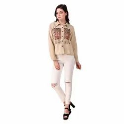 Party Wear Ladies Cotton Embroidery Jacket, Size: S,M
