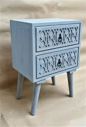 M.D.F + WOOD GREY SIDE TABLE, Number Of Drawer: 2, Size: L 16 X B 12 X H 23