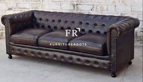 FurnitureRoots Leather French Style Living Room Chesterfield Single Sofa for Restaurants