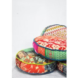 Vintage Kantha Round Cushion