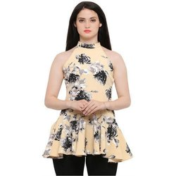 Printed Sleeveless Ladies Party Wear Top, Size: S-XXL