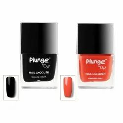 O3 Plunge Black Magic and Wonderland Nail Paint Polish Lacquer Color Shade Combo (Black and Red)