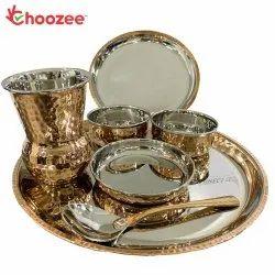 Choozee - Copper Thali Set (7 Pcs) of Plate, Bowl, Spoon & Matka Glass