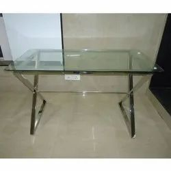 Stainless Steel Frame Glass Top Center Table