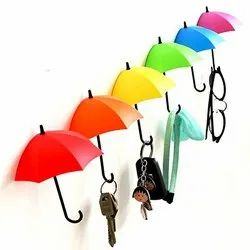 Rubber Pack of 3 Colorful Umbrella Shape Key Holder with Wall Hook, Number Of Hooks: 1