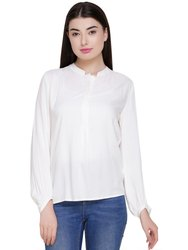 Ladies Viscose Full Sleeve White Shirt, Size: S, M, L & XL