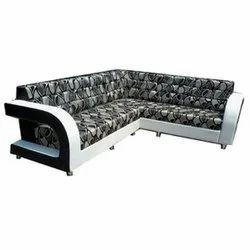 Gujju Bazar White and Grey Modern L Shape Wooden Sofa Set, for Hotel