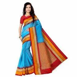 Vimalnath Synthetics Saree Bhagalpuri Saree With Blouse Piece(Turquoise)