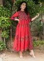 Designer Cotton Embroidered Long Anarkali Dress