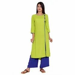 Green and Blue Rayon Kurti