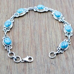TURQUOISE GEMSTONE 925 STERLING SILVER WHOLESALE BRACELET JEWELRY WB-5137