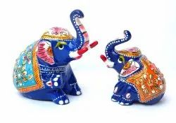 Metal Painted Elephant for Decoration