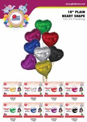 18 Plain Round / Heart Shape Foil Balloon (10 Pcs Pack)