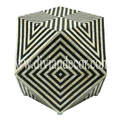 Cube Fix Monochrome Bone Inlay Side Table