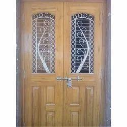 Hardwood Polished Designer Safety Door, For Residential