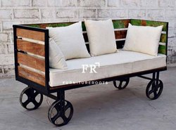 Furniture Vintage - Bench Industrial Tufted Design With Cushion
