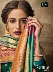Latest Designer Party Wear Jam Silk Embroidery Work Dress Material Catalog Kessi Parnita Vol-2