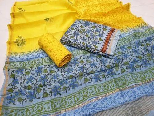 Hand Block Printed Chanderi Silk Suit - Hand Block Print Chanderi