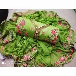 Rajnandini Green Semi Modal Embellished Semi-Stitched Dress Material