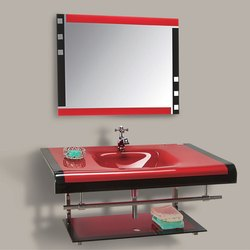 Wall Mounted Red Glass Wash Basin With Mirror