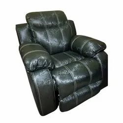Leatherette Black Home Theater Recliner Chair