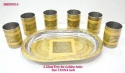 Serving Tray Set 6 Glass Golden Antic