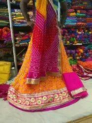 Party Wear Embroidery Bandhani Lehenga Choli