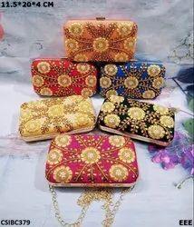 Female Multicolor Gotta Patti Box Clutch, Size: 11.5*20*4 Cm