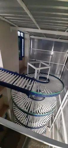 Spiral roller conveyors