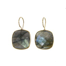 Labradorite Cushion Shape Bezel Set Earrings