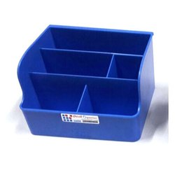 Blue Rectangular (sectional Shape) Plastic Desk Organizer, for Home, Office, Box