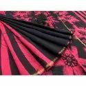 Vastrang Printed Pink And Black Chanderi Saree With Blouse