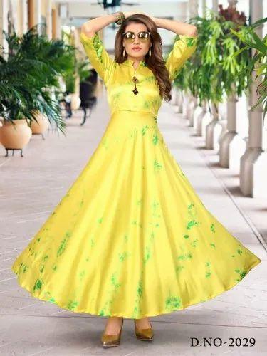 f1b44ae39 Yellow Merriage   Party Wear Taiwan Satin Silk With Shibori Print Gown