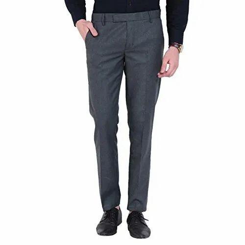 Polyester Viscose 28-38 Inch Dark Grey Mens Formal Pant