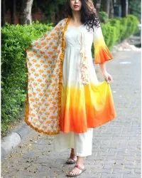 Yellow Tie Dye Anarkali Kurta Bottom and Dupatta Full Stitch Suit
