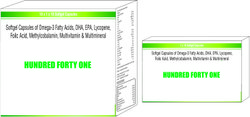 Softgel Capsules of Omega-3 Fatty Acids DHA EPA Lycopene Foilc Acid Methylcobalamin Multivitamin