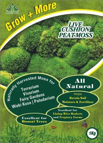 Live Fresh Cushion Peat Moss Sphagnum Moss for Terrariums, Vivarium, Fairy Gardens, Bonsai 1SQF