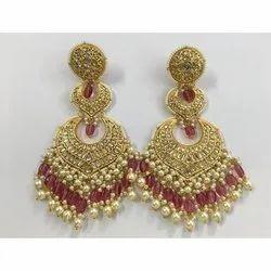 22 Carat Gold Natural Uncut Diamond Polki Jadau Party Wear Chandbali Earrings