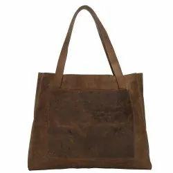 Brown custom Leather fabric shopping tote bag reusable College Bag