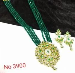 Mint Meena Kundan Party Wear Set