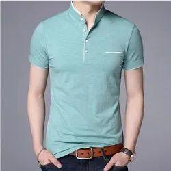 Plain Half Sleeve Sky Blue Henley Mens T Shirt, Size: S to XXL