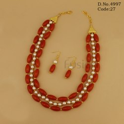 Western Style 3 Line Designer Necklace Set