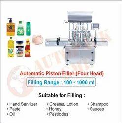 Automatic Cream Filling 4 Heads / Liquid, Gel, Hand Sanitizer, Paste, Oil Shampoo Filling Machine