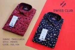 Swiss Club Men's Casual Twill Lafer Printed Shirt