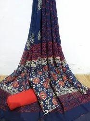 Bagru Hand Block Ajrakh Print Cotton Dress Materials